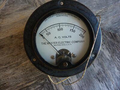 Vintage Usa 200v A. C. Volt Meter - The Master Electric Company - 3 Diameter