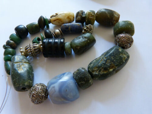 Ancient African Serpentine, Scorzalite, blue Chalcedony Necklace, Mali