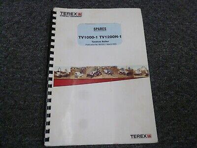 Terex Tv1000-1 Tv1200-1 Tv1200h-1 Tandem Asphalt Roller Parts Catalog Manual