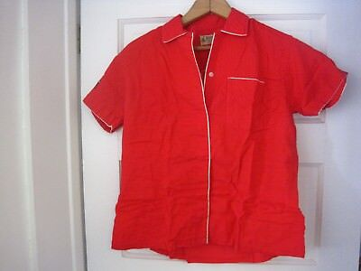 Vintage Women's Hilton Red Button Front Bowling Shirt-Size M-FAST SHIPPING!!