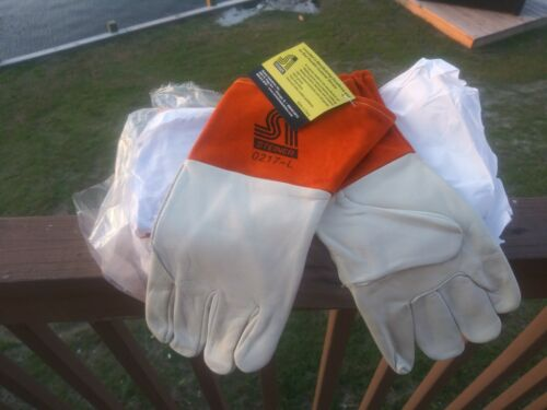3 NEW PRO MIG WELDING GLOVES PREMIUM Grade Unlined 4 Cuff Wing Thumb Seamless  - $15.00