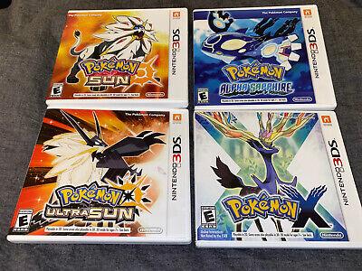 4 Nintendo 3DS Cases ONLY Pokemon X, Pokemon Ultra Sun, Pokemon Alpha Sapphire