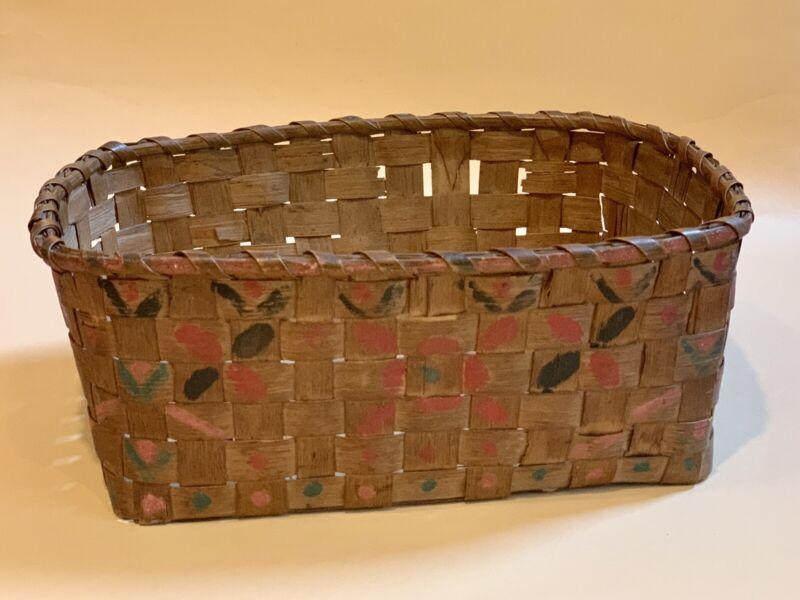 Antique New England Decorated Splint Rectangular Basket