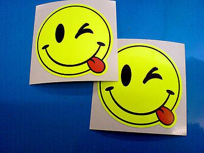 FLOURESCENT CHEEKY SMILEY Car Motorcycle Helmet Stickers Decals 2 off 50mm