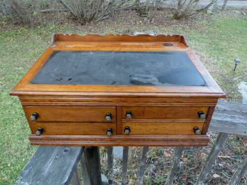Antique Oak 4 Drawer J & P Coats Spool Cabinet  Country Store Display Top