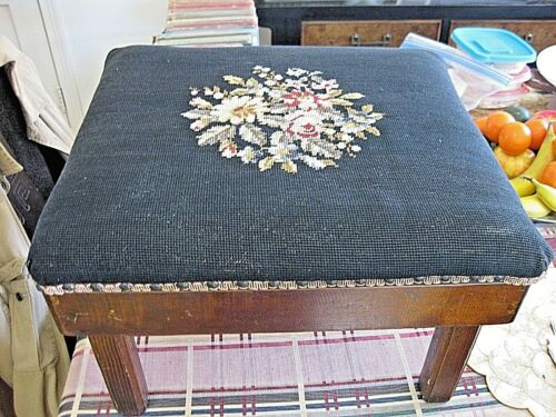 Foot Stool Black Needlepoint Wooden Frame Hand Made 16x18x12 Antique