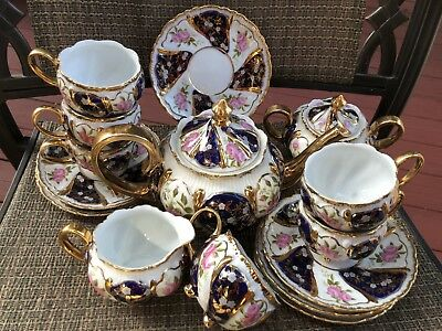 CZECH Thun 1794 China Porcelain 24Ct Tea /Coffee Set 17 Pcs Flowers /Cobalt Vng