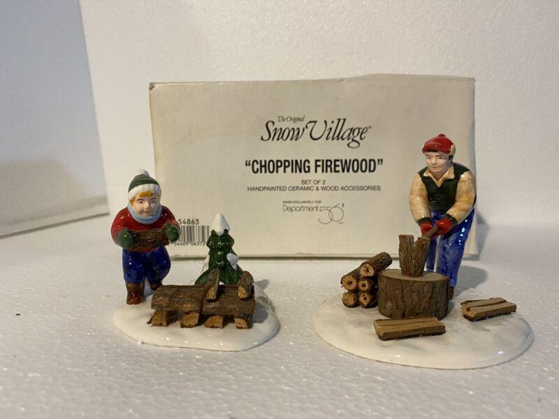 Dept 56 1999 Chopping Wood 2pc Set / Snow Village