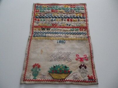 Antique Cross Stitch Sampler 1880 Emma Robinson Aged 12