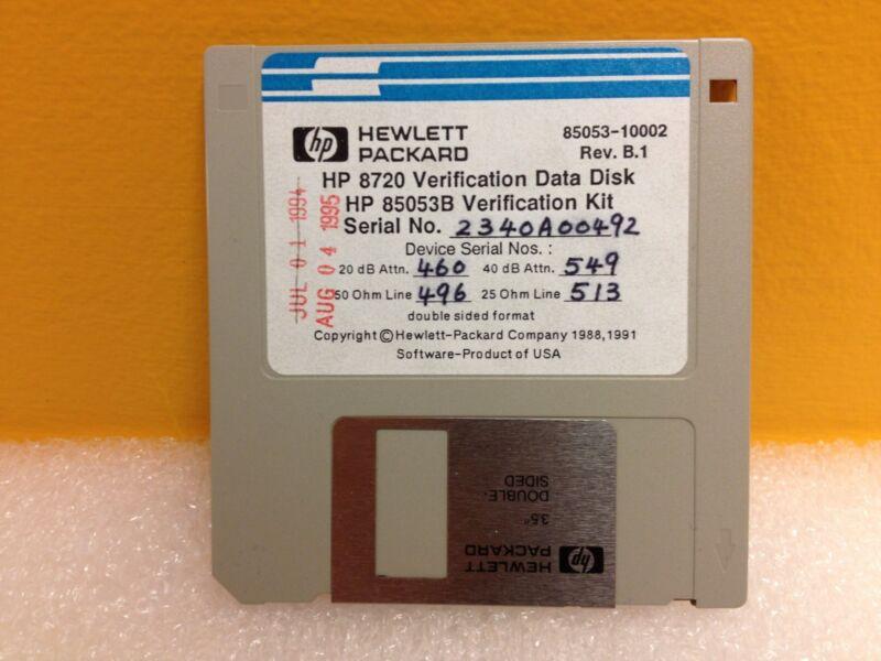 HP 85053-10002, HP 8720 Verification Data Disk, Rev: B.1