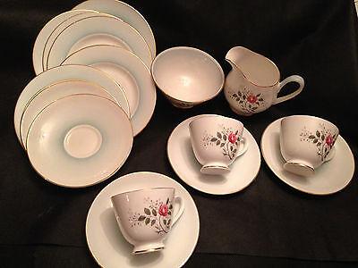"Royal Tuscan English Bone China 17 pcs ""Rosetta"" Cups, Creamer, Sugar, Plates+"