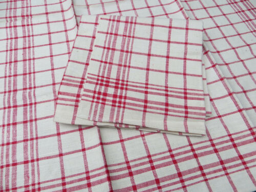 Unused  Pair of  Large  Linen Towels  Red Stripes 21 inch by 29 inch german