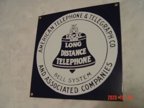 Ande Rooney AT&T Local Long Distance Telephone Bell Porcelain Advertising Sign