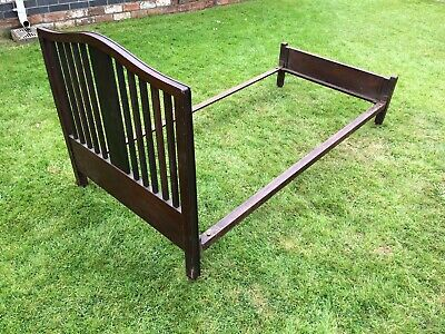Vintage Child's Single Bed Frame - Wooden Head And Foot. Steel Sides