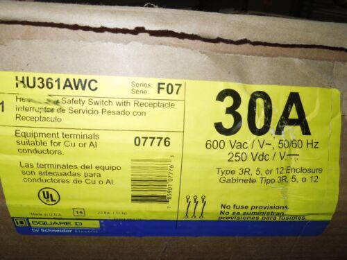 Sq D Hu361awc Heavy Duty Safety Switch 30a 3p 600v 3r 5 12 W/ Receptacle Surplus
