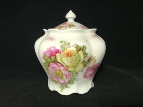 German Porcelain Cookie-Biscuit-Cracker Jar Covered In Pink & White Roses
