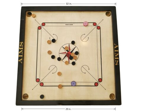 Ships from USA - Brand New Full Size Carrom Board (32x32) w/ coins & 2 strikers