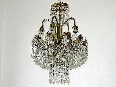 Wunderschöne Alte Messing-Kristall  Kronleuchter, Lüster 6 Flammig
