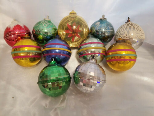 11 vintage plastic unbreakable aluminum tree ornaments; stripe,disco,stenciled