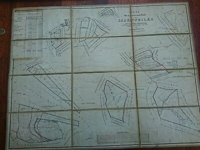 Antique Card 1843 Old Plan Oberweiler Badenweiler Lipburg Niederweiler