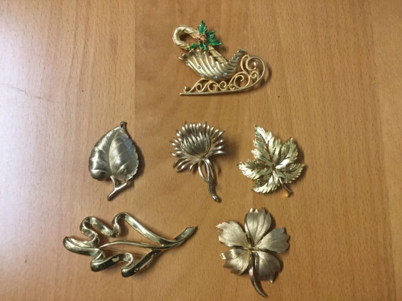 Lot Of 6 Collectible Holiday Brooches, Trifari