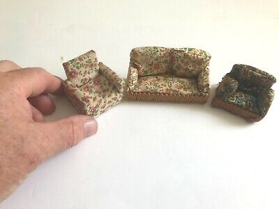 VINTAGE DOLLS HOUSE FURNITURE SOFA AND TWO CHAIRS IN  FLORAL FABRIC