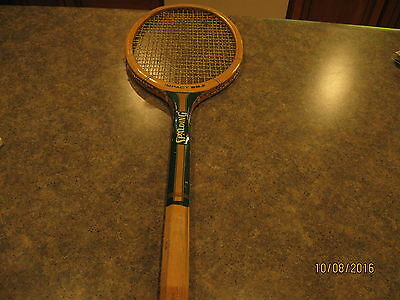 Vintage SPALDING IMPACT 222 Green & Gold Color Wooden Tennis Racket