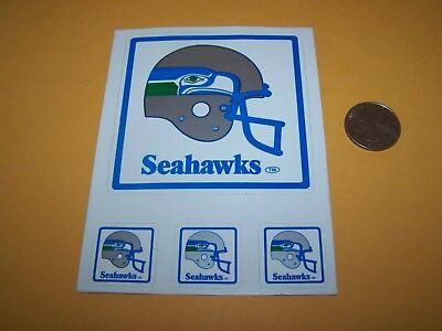 1980/90s SEATTLE SEAHAWKS VINTAGE STICKER NFL FOOTBALL 4 STICKER SET