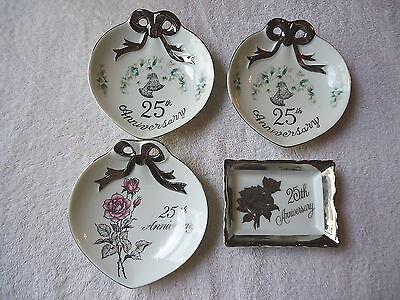 "Mixed Lot Of 4 25th Anniversary Collectable Ceramic Plates,Etc. "" BEAUTIFUL LOT"