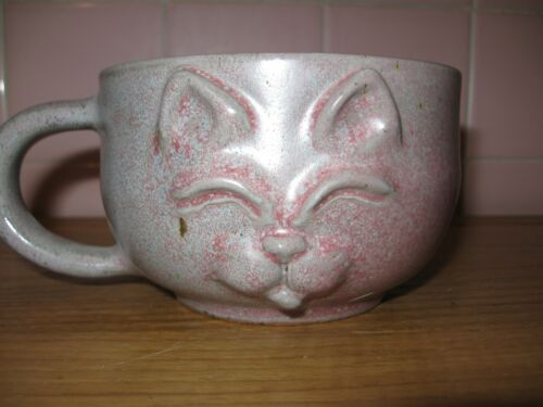 Handcrafted 3D Relief Oversize Pottery Cat Mug by Vanik