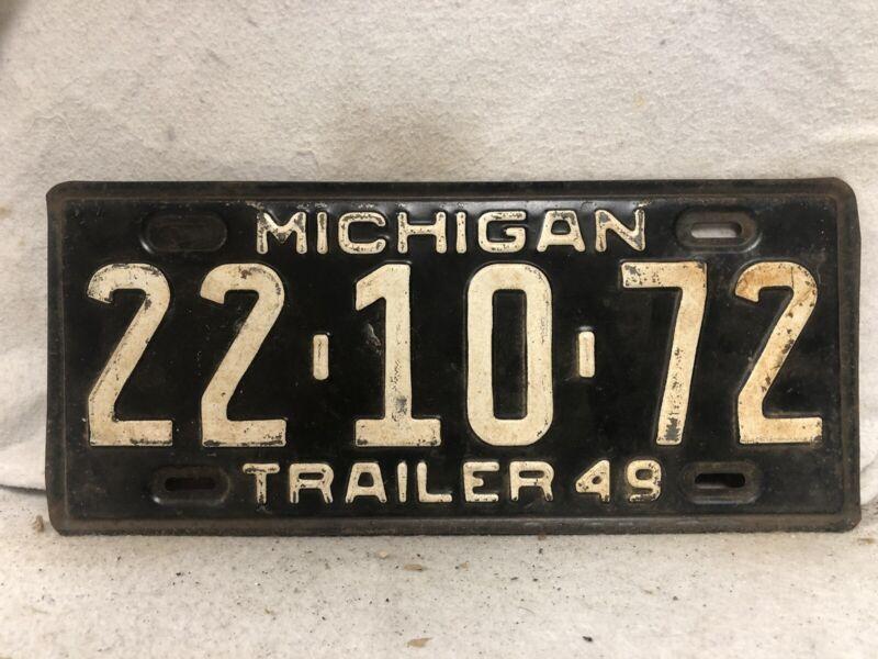 Vintage 1949 Michigan Trailer License Plate