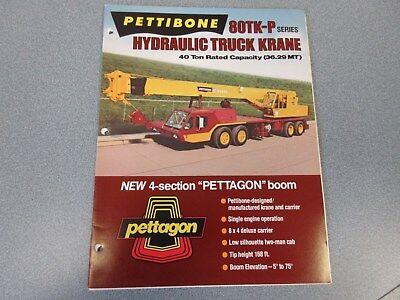 Rare Pettibone 80 Tk-p Hydraulic Truck Krane Sales Brochure