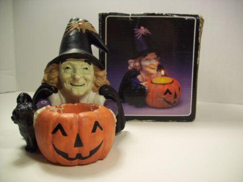 Vintage Witch and Pumpkin Candle Holder Halloween Decoration Retro Vtg Decor