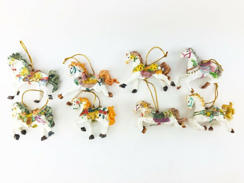 Carousel Horse Christmas Ornaments Lot of 8