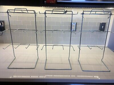 Counter Top Display Rack In Silver 17.75 H X 10 W Inch With Peg Hooks - Lot Of 3