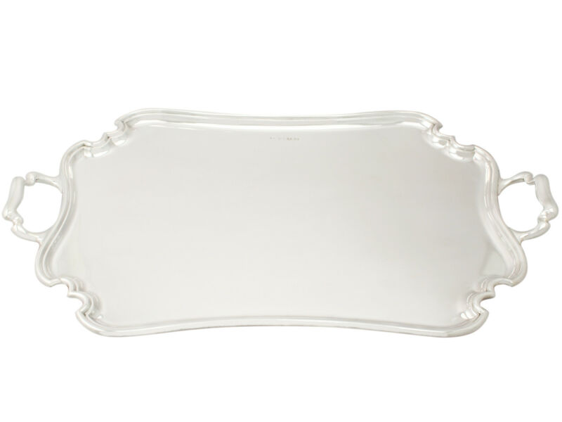Antique George V Sterling Silver Two-Handled Tea Tray by Atkin Brothers