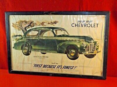 Vintage Antique GM 1941 Chevrolet dealership showroom framed picture VERY (American Frame Showroom)