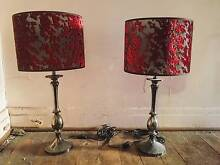 Pair of Black Chrome Table Lamps with Cherry Blossom Shade Mount Lawley Stirling Area Preview