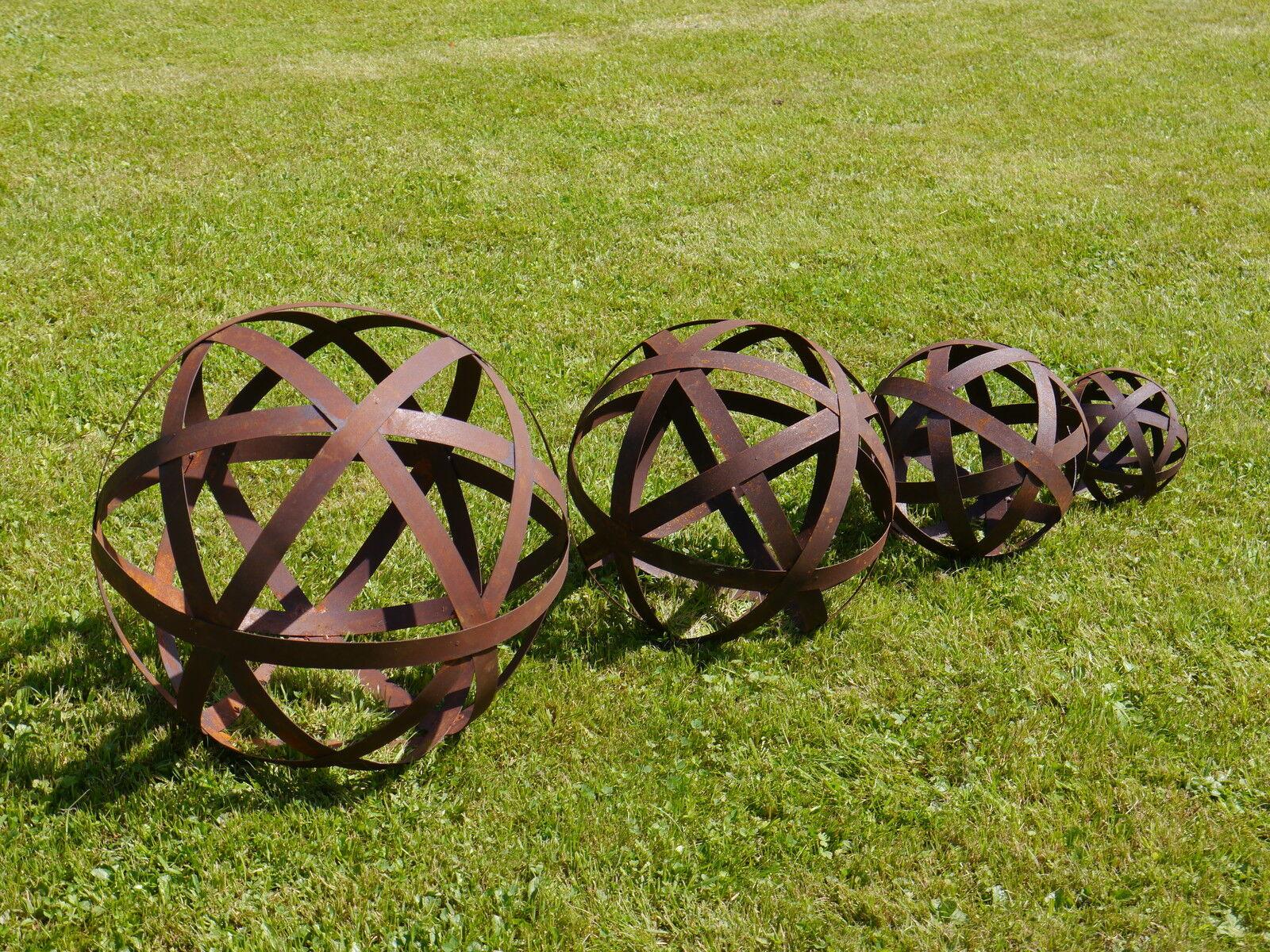 Blechstreifen Kugel Edelrost 20 - 50 cm Garten Deko Metall Dekoration Eisen Rost
