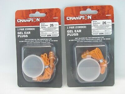 2 Pair Champion Gel Corded Ear Plugs With Case Nr-26 Decibels B607