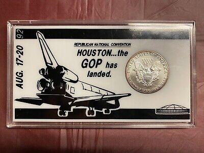 RNC 1992 $1 American Silver Eagle - Houston GOP Astrodome Bush Trump Republican