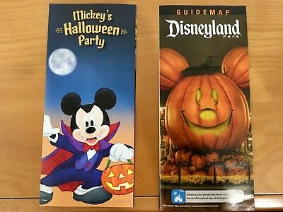 Disneyland Mickey's Halloween 2018 Party Map Set Mickey Mouse Jack Skellington
