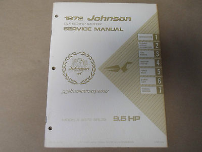 1972 Johnson Outboards Service Shop Repair Manual 9.5 HP 9R72 9RL72 OEM Boat x