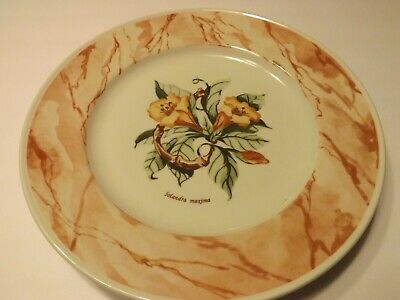 Plate Ø 22cm Flat Porcelain Vintage Stoneware Cream Brown Edge