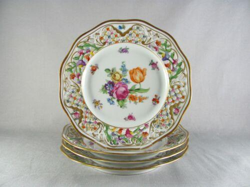 "4 Schumann Chateau Dresden Dessert Plates, 7-1/2"", reticulated, flowers, pie"