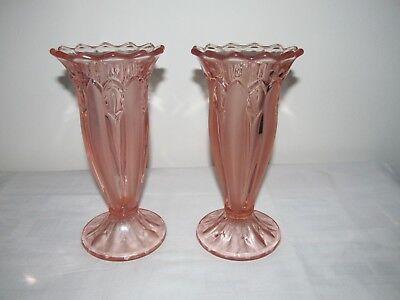 Pair of Art Deco Vases By Sowerby In Pink/Peach