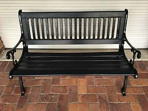 BENCH SEAT  -   Black Heavy Cast Iron Ends and Sturdy Seat Samford Valley Brisbane North West Preview