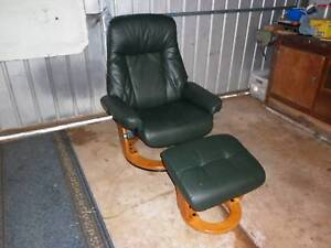 Leather Lund Reclining Chair & matching Footstool Eudunda Goyder Area Preview