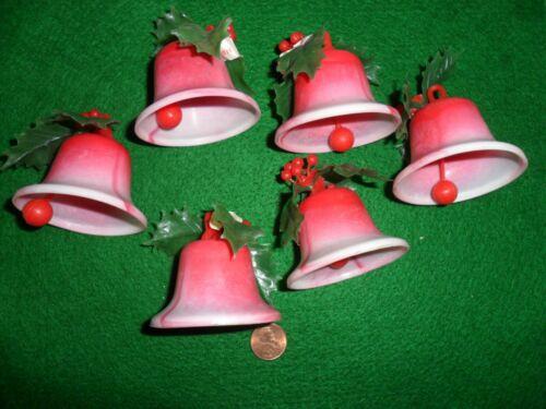 6 Vintage Red Varigated Plastic Bells w/ Red Plastic Clapper