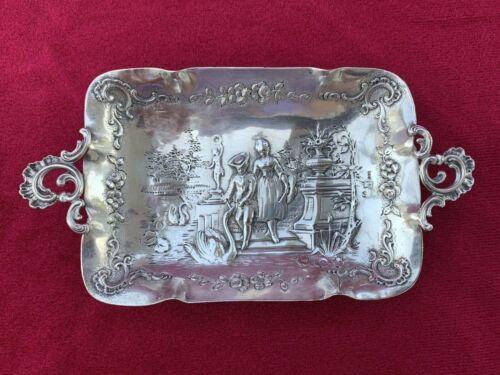 Antique SIMON ROSENAU Hanau German 800 Silver Footed Tray Bowl Courting Scene